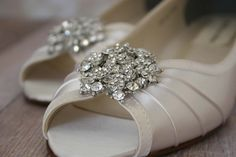 Wedding Shoes -- Ivory Peeptoe Wedge Wedding Shoes with Classic Rhinestone Cluster - CHOOSE YOUR COLOR on Etsy, $169.97 AUD