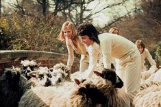 Paul McCartney and Linda Eastman-McCartney (with wooly friends)