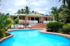 exterior of Heritage with pool in the foreground, in Rarotonga, Cook Islands