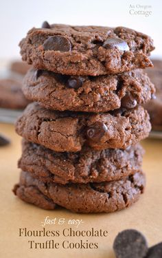 Fast and Easy Flourless Chocolate Truffle Cookies -amazing fudgy goodness everyone will love! http://anoregoncottage.com/flourless-chocolate-truffle-cookies-grain-free-dairy-free/