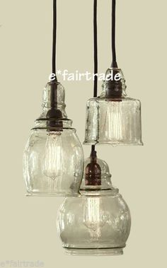 POTTERY BARN Paxton Glass 3-Light Pendant Chandelier, NEW