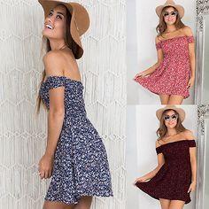 Mini-Vestido-Moda-Mujer-Hombro-Verano-Playa-Casual-Noche-Fiesta-Corto