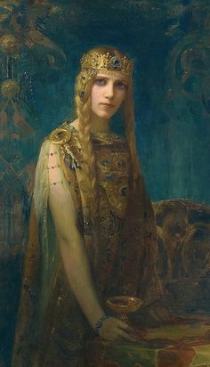 "Gaston Bussiere (French, 1862-1929), ""Isolde"" (1911) #figurative #portrait #art"
