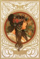 Art Nouveau by Mucha - Brunette - cross stitch kit by Lanarte - A lovely detailed picture of a lady's head with elaborate jewelry and colourful background. Cross Stitch Kits, Cross Stitch Embroidery, Cross Stitch Patterns, Alphonse Mucha, Art Nouveau, Art Deco Design, Art Forms, Vintage Posters, New Art