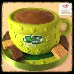 cake carved as cup of coffee or tea with biscuits for macmillan coffee morning 2015 Mcmillan Coffee Morning 2015