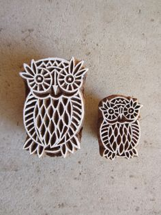 Owls Block Prints Hand Carved