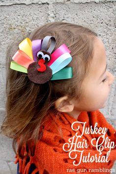 Use scraps to make a super cute Turkey ribbon hair clip. Tutorial at Rae Gun Ramblings #turkeytablescapes