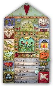 Perpetual calendar by Lisa Kaus. Shop for mixed media collage and artful home decor plus beautiful fine stationery