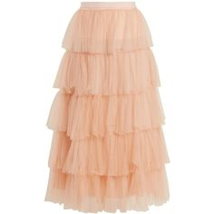 Emilio De La Morena Tierelle tiered tulle skirt ($1,144) ❤ liked on Polyvore featuring skirts, light pink, emilio de la morena, light pink tulle skirt, tiered skirts, red skirt and going out skirts