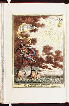 August 1815:Bodleian Libraries, Boney's meditations on the island of St Helena or - the devil addressing the sun.Satire on Napoleon's exile to St. Helena. (British political cartoon)
