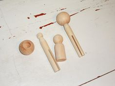 DIY Wedding Cake Topper parts - clothes pin - dowel  cap - wooden child. $5.50, via Etsy.