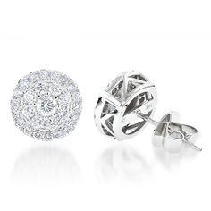 Cluster Diamond Earrings Studs G color VS Clarity by Luxurman 1.5ct