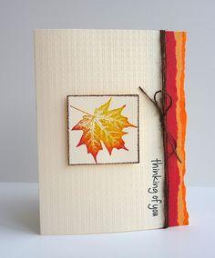 autumn card...blended color stamped maple leaf...torn edges color spot... subtle embossing folder texture...vertically placed sentiment...