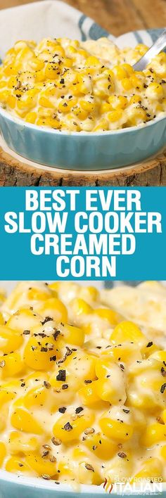 Best Ever Slow Cooker Creamed Corn recipe doesn't get much easier. Simply toss 6 ingredients into the slow cooker or crockpot and a few hours later you have the silkiest, creamiest most divine creamed corn you have ever eaten. You might want to print this recipe out, because everyone is going to ask for it!