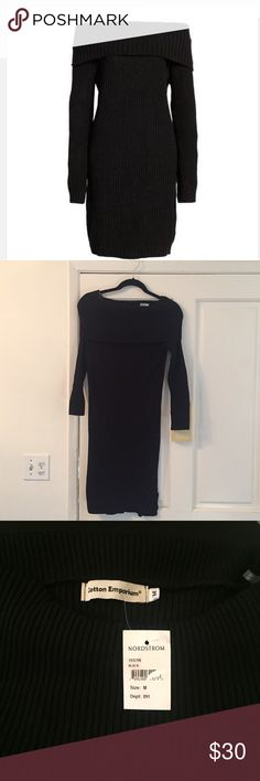 "NWT Nordstrom Sweater Dress NWT Nordstrom black ""Cotton Emporium"" off -shoulder sweater dress.  This fabulous dress is size Medium and is 34 inches in length. Nordstrom Dresses"