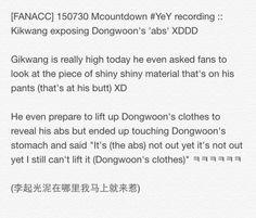 [FANACC] 150730 Mcountdown #YeY recording :: Gikwang exposing Dongwoon's abs???