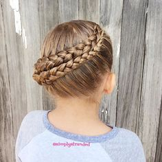 Today we did a Dutch braid then wrapped it upward and pinned it.  Inspired by my lovely friend @brownhairedbliss