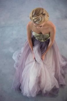 Gold with Lavender Chiffon prom dress
