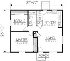 First Floor Plan of Cabin Ranch House Plan 90756 ponde ideas Little House Plans, Small House Floor Plans, Cabin Floor Plans, Small House Plans Under 1000 Sq Ft, Square House Plans, Little Houses, The Plan, How To Plan, Plan Plan