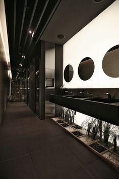 Radisson Hotel Lobby - By: Tanju Ozelgin Love the dark sinks. Dark, moody, impact - Best Home Decorating Ideas - Easy Interior Design and Decor Tips Wc Public, Public Hotel, Airport Hotel, Hotel Lobby Design, Toilette Design, Washroom Design, Public Bathrooms, Fancy Bathrooms, Hotel Interiors