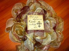 Deco Mesh Wreath  Gold Religious by InfiniteCreationsByR on Etsy, $75.00