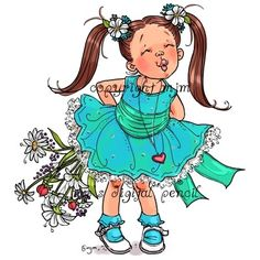 digital stamps for papercrafters Cartoon Drawings, Cute Drawings, Little Girl Pictures, Mo Manning, Winter Fairy, Girls With Flowers, Penny Black, Character Design References, Cute Images