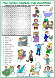 Daily Routines Word Search Puzzle ESL Worksheets For Kids