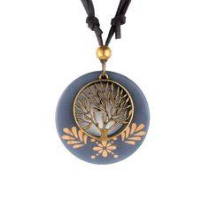 Maxi necklace Vintage necklaces pendants Women Jewelry Fashion choker necklace Alloy Life Tree Wooden Pendant Necklace Wood