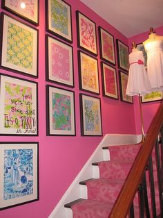 Inspiration for the bed, a pink bed spread with framed Lilly Pulitzer prints above.