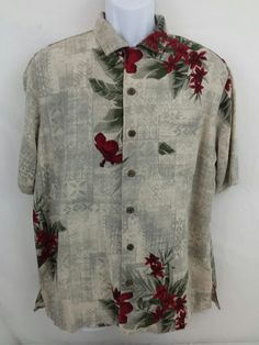 Havana Jack's Cafe Floral 100% Silk Short Sleeve Button Front Mens Medium Shirt #HavanaJacksCafe #ButtonFront