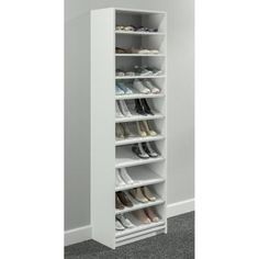 SimplyNeu 14 in. W x 84 in. H White Shoe Storage Tower Wood Closet System Kit - - The Home Depot Shoe Shelf In Closet, Shoe Shelves, Closet Rod, Closet Storage, Master Closet, Bathroom Closet, Bedroom Storage, Floating Shelves, Shoe Storage Tower