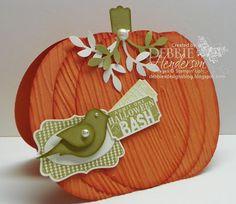 Pals Paper Arts #171. Stampin' Up! Ovals Framelits Pumpkin, Bird Punch and Halloween Bash by Debbie Henderson, Debbie's Designs.