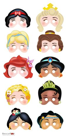 Printable DISNEY PRINCESS masks. Instant Download PDF file. Snow White, Belle, Ariel, Rapunzel, Mulan via Etsy