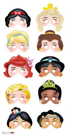 Imprimable DISNEY princesse masques. Instantanée des fichiers PDF à télécharger. Blanche-neige, Belle, Ariel, Rapunzel, Mulan
