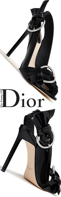 Emmy DE * Dior Black Patent Calfskin Sandal Summer 2016