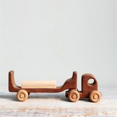 Vintage Handmade Wooden Toy Truck with Block / German Toy, Waldorf, Montessori, Natural Wood