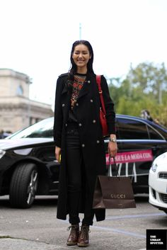 great topper. #LiuWen #offduty in Milan.