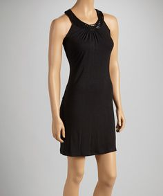 Take a look at this Black Sequin Yoke Dress - Women by India Boutique on #zulily today!
