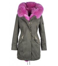 PARKA WITH FUSCHIA FOX-RABBIT VEST  ONLINE PURCHASE: www.cigdemmalkoc.com #parka #fashion #cigdemmalkoc #fox #furparka