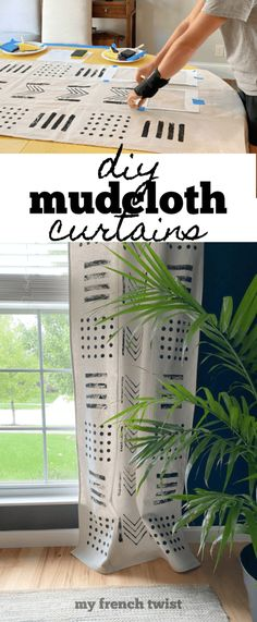 #diymudclothcurtains Curtains, Home Projects, Diy Home Decor, Thoughts, Decoration, Canvas, Crafts, Painting, Decor
