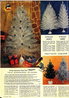 Vintage Page from Catalog ~ Aluminum Christmas Trees. If only I could back in time and buy all the vintage goodies, including an Aluminum Tree! Vintage Aluminum Christmas Tree, Silver Christmas Tree, Modern Christmas, Retro Christmas, Christmas Love, Christmas Pictures, Christmas Trees, Christmas Decor, Hogwarts Christmas
