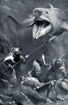 twenty thousand leagues under the sea shark by zdenek burian - 937 Nautilus, Art Pulp, Sea Shark, Leagues Under The Sea, Geniale Tattoos, Underwater Creatures, Art Et Illustration, Wow Art, Fish Art