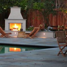 Take a dip or sit by the fire - you can almost do both at this pool!
