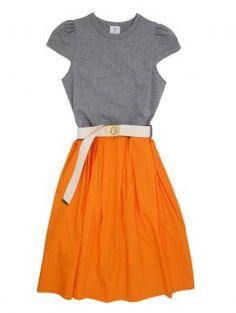 orange! Karen Walker dress.