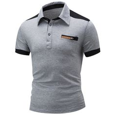 Casual Classic Trendy Polo Collar Color Block T-Shirt T Shirt Polo, Mens Polo T Shirts, Slim Fit Polo Shirts, T Shirts For Women, Men's Polos, Men's Shirts, Workout Shirts, Men's Fashion, Color Fashion