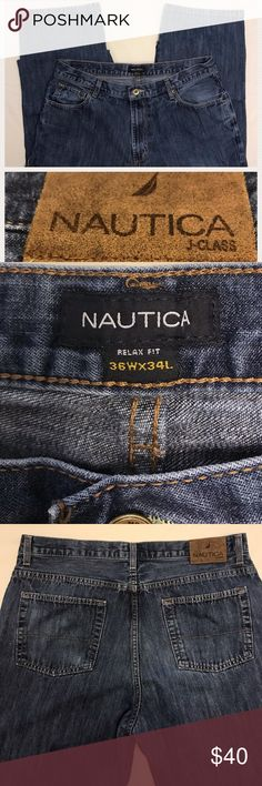 Nautica Jeans Relaxed Fit 36WX34L EUC. No Signs Of Wear. Nautica relaxed fit jeans. Dark wash. Standard 5 pocket design. Logo waistband.  Waist: 36inches. Length: 34 inches. Nautica Jeans Relaxed