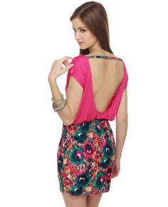 Cute Fuchsia Dress - Floral Print Dress -