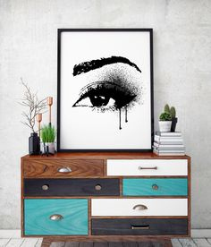 Make up eyes lash drip print, paint drip Make up poster, Fashion Decor, wall ar, large art prints eyelashes black and white art illustration by hellomrmoon on Etsy https://www.etsy.com/listing/460673286/make-up-eyes-lash-drip-print-paint-drip