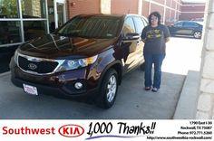 https://flic.kr/p/MSJrnV   #HappyAnniversary to Angela and your 2013 #Kia #Sorento from James Adams at Southwest KIA Rockwall!   www.deliverymaxx.com/DealerReviews.aspx?DealerCode=TYEE