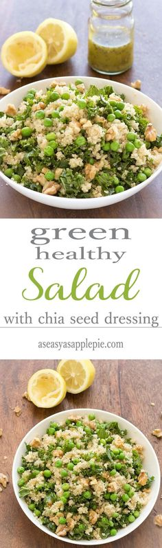 This green healthy salad is filling and tasty. Quinoa, kale, walnuts and peas come together in this vegan and gluten free one meal salad
